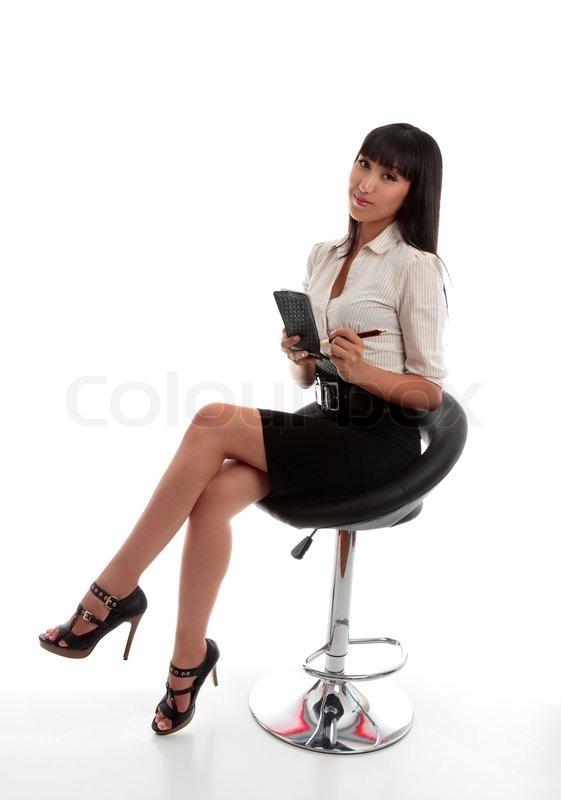 Beautiful Businesswoman Office Worker Stenographer