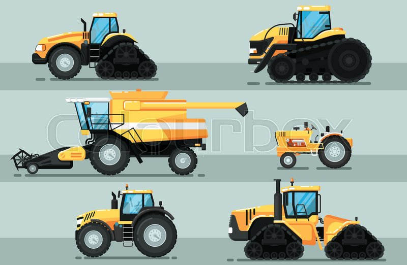 Agricultural Machinery Design : Modern agricultural vehicle isolated set caterpillar