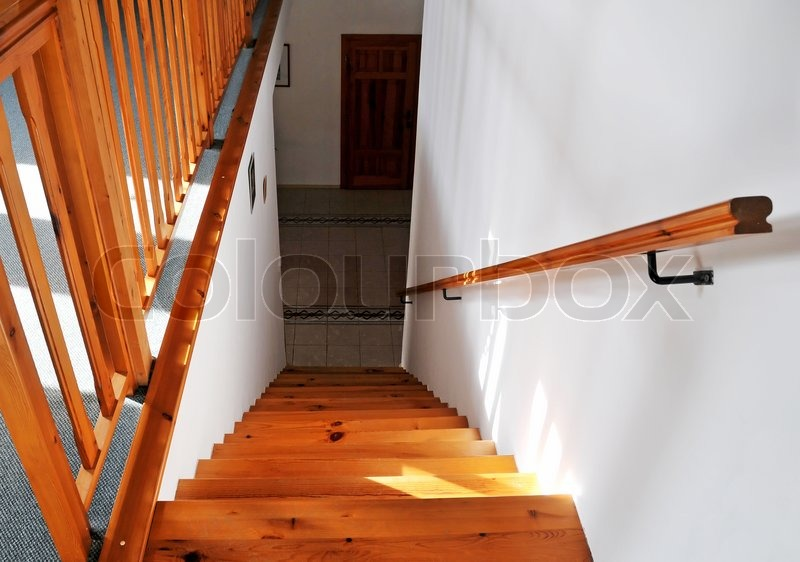 Interior   Wood Stairs And Handrail, Stock Photo