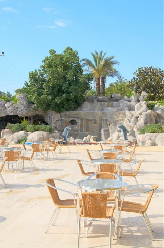 Modern cafe furniture on the resort by summer, stock photo