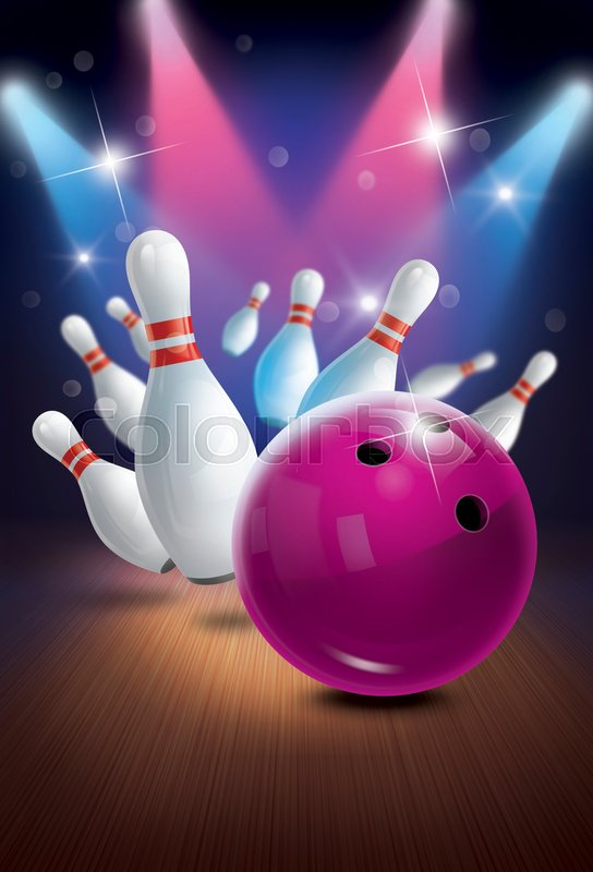 Bowling Poster Backgrounds Flyer Or Label Design Stock