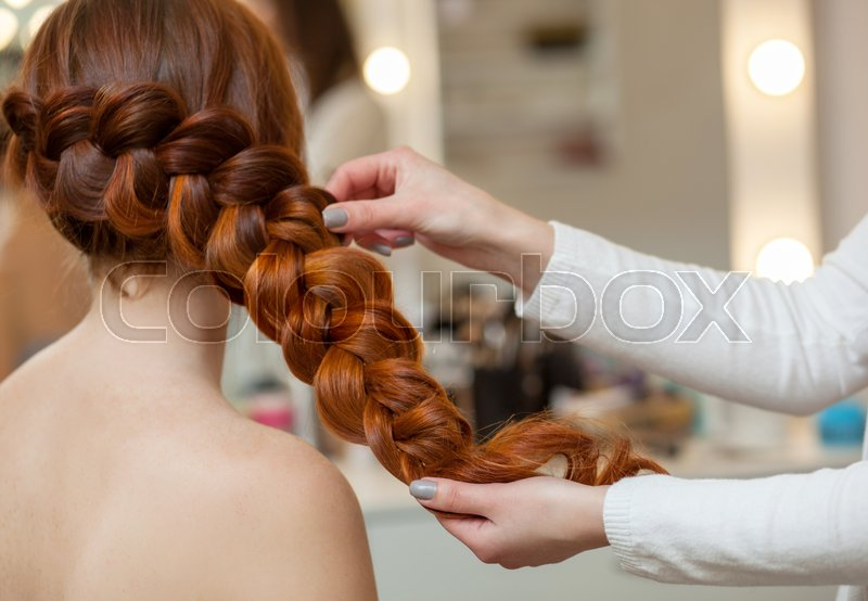 Beautiful With Long Red Haired Hairy Girl Hairdresser Weaves A