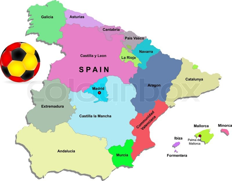 Football Map Of Spain.Spain Football Illustration Stock Vector Colourbox