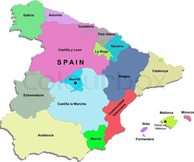 Kort Over Spanien Stock Vektor Colourbox