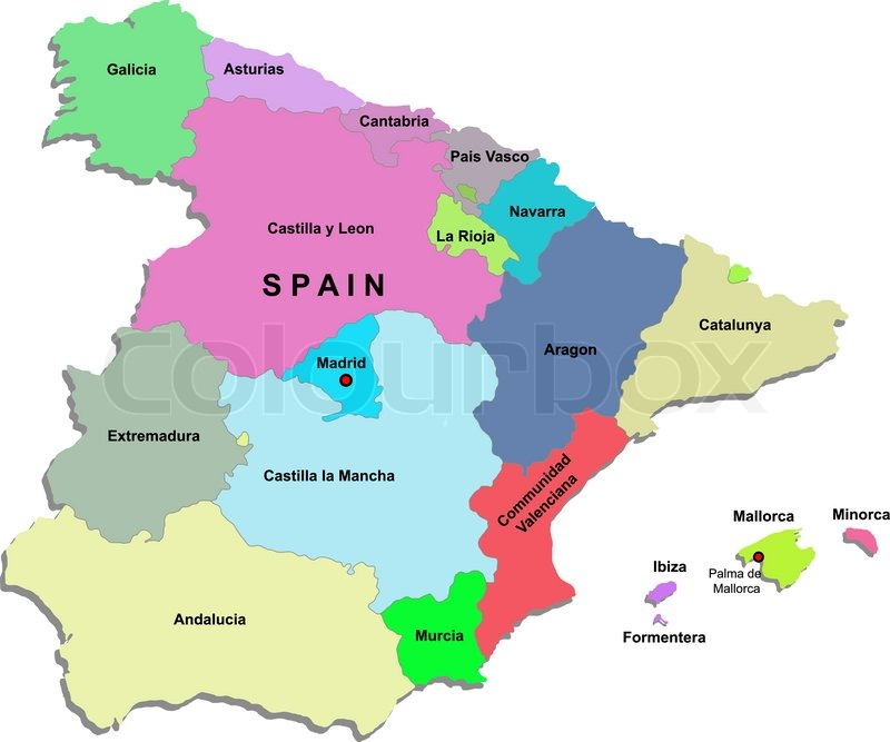 Spanische Karte.Spanien Karte Stock Vektor Colourbox