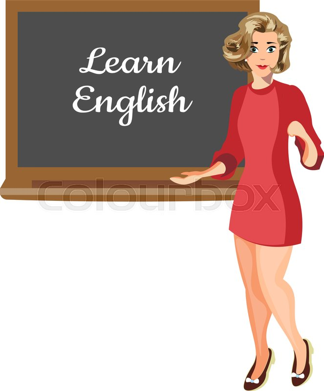 Teacher with board. Learn English. Vector illustartion, vector