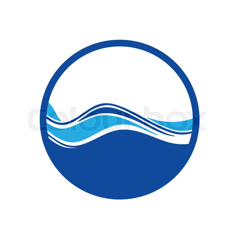 blue circle water wave logo stock vector colourbox rh colourbox com wave logon wave logo brand