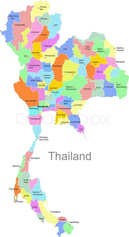 Thailand Map Stock Vector Colourbox