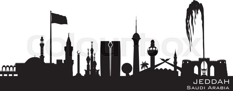Tower Credit Union >> Jeddah Saudi Arabia skyline Detailed vector silhouette ...