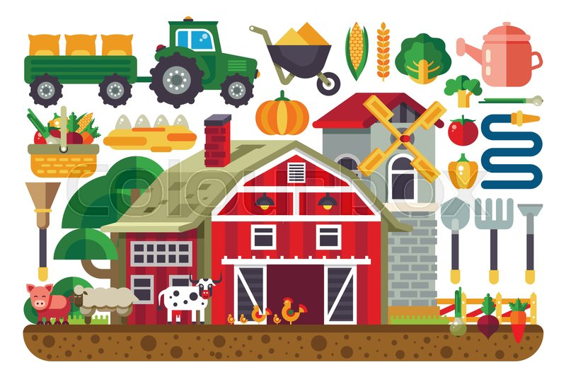 Stock Vector Illustration Set Of Icons For Farm Business House Tractor Tools Artiodactyls Cloven Hoofed Domestic Animals Crib Barn Chicken Pig