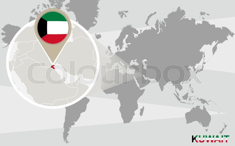 World map with magnified kuwait kuwait flag and map stock vector world map with magnified kuwait kuwait flag and map stock vector colourbox gumiabroncs Gallery