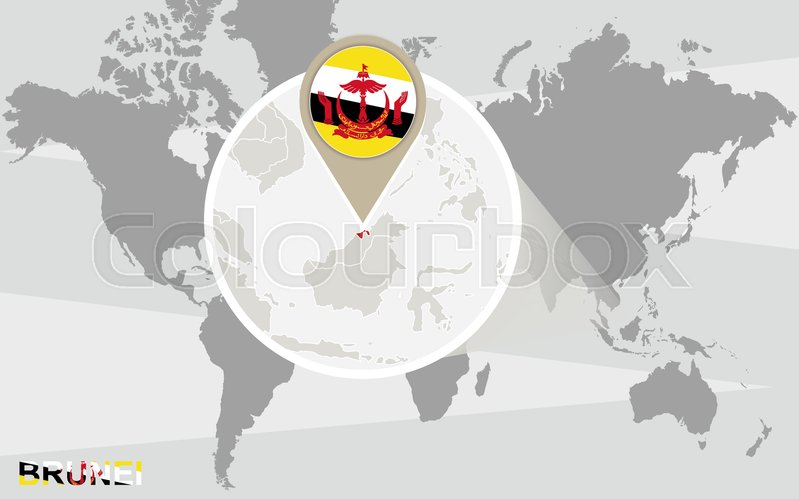 World Map With Magnified Brunei Stock Vector Colourbox