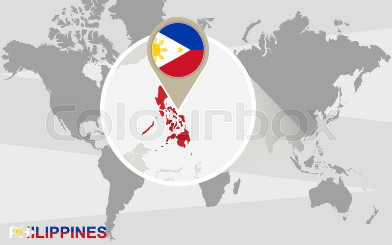 World map with magnified philippines philippines flag and map world map with magnified philippines philippines flag and map stock vector colourbox gumiabroncs