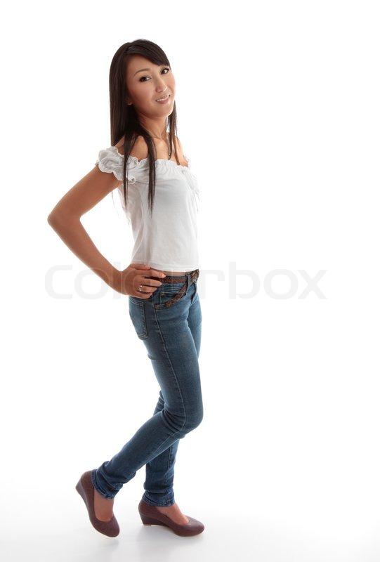 sch ne junge m dchen mit d nnen bein jeans und einem wei en gekr uselten top stockfoto colourbox. Black Bedroom Furniture Sets. Home Design Ideas