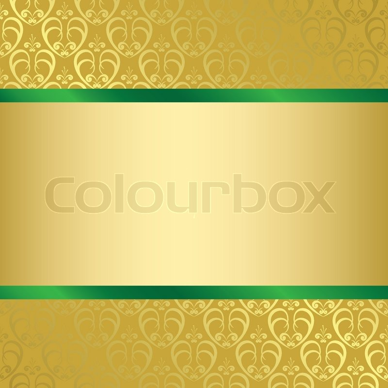 Quot Gold And Green Background With Gold Pattern Vector