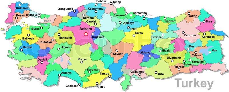 Turkey map Stock Vector Colourbox