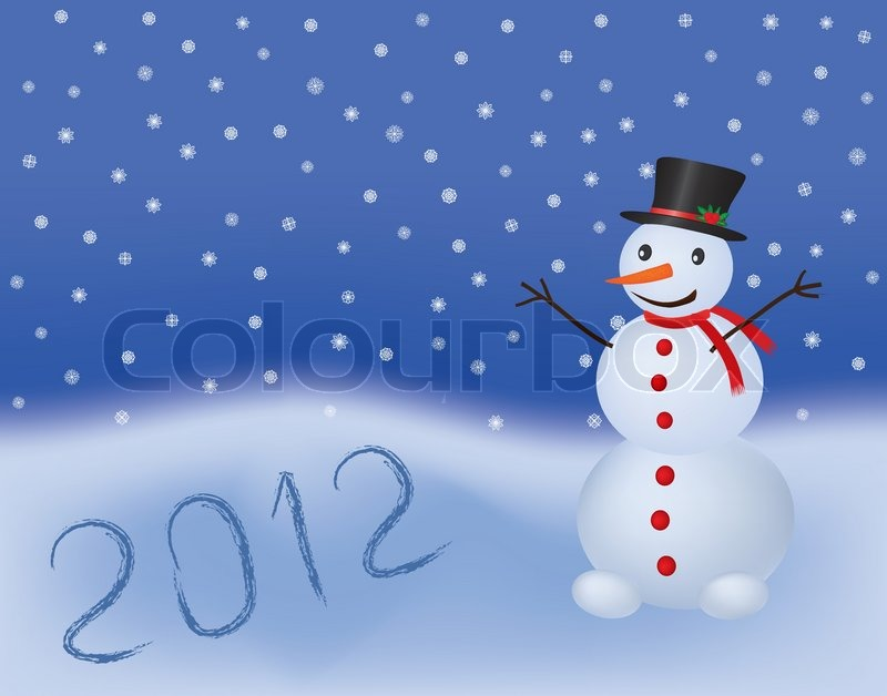 Stock vector of 'New year 2012 vector background with snowman'
