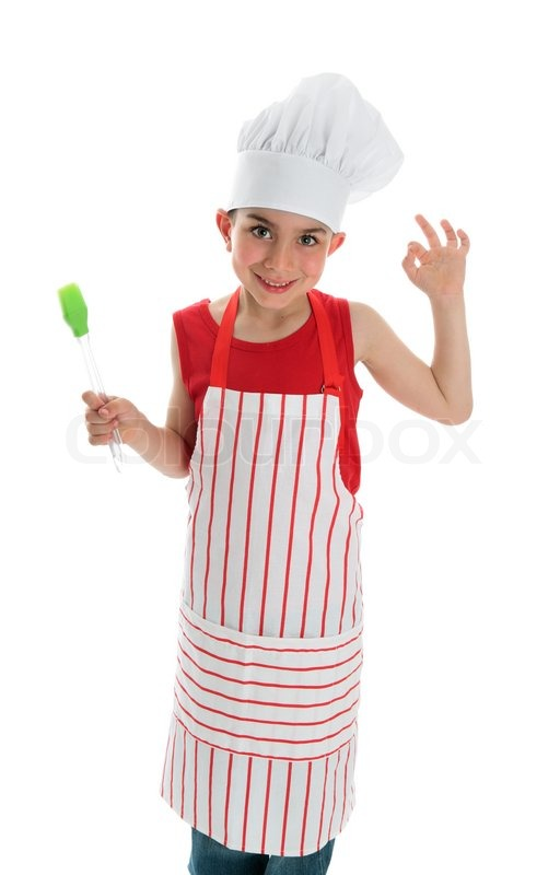A Young Smiling Child Chef In Apron And Stock Image Colourbox