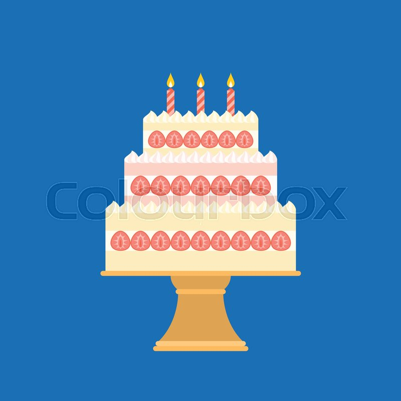 Strawberry Cake In Three Layers With Candle And Stand Flat Design
