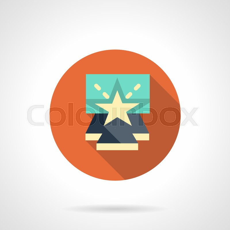 Symbol Of Entertainment Show Blue Stage Podium With Beige Star