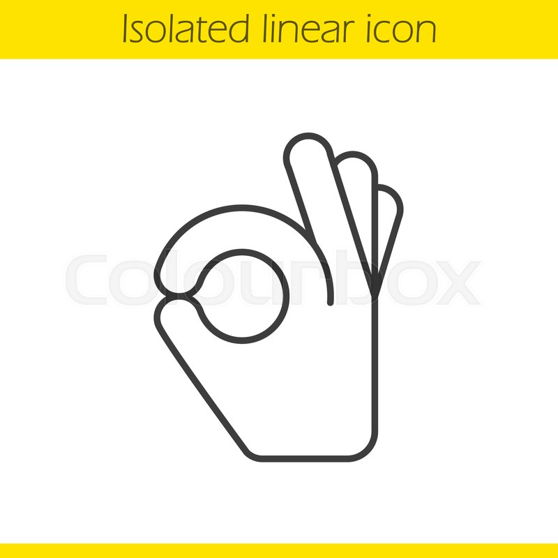 Ok Hand Gesture Linear Icon Thin Line Illustration A Ok Contour