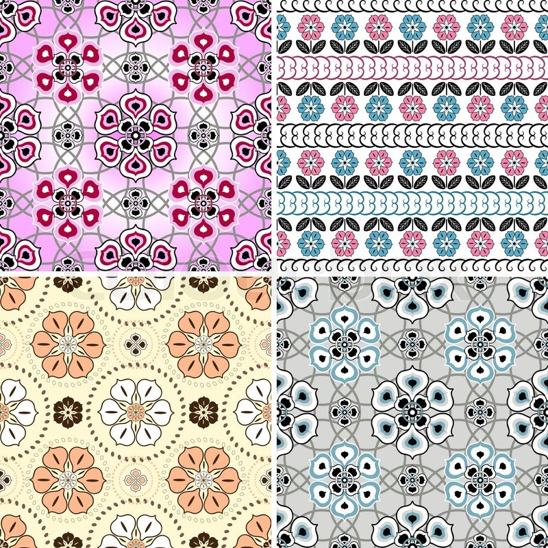 Set White Pink And Grey Seamless Stock Vector Colourbox