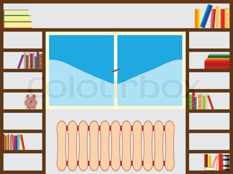 B cherregal um fenster abstrakte vektorillustrationen for Dekoration wohnung ausbildung