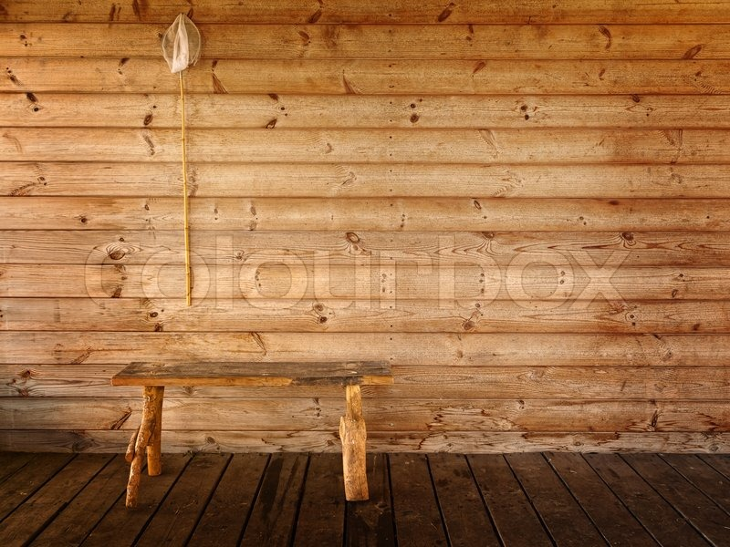 schmetterlingsnetz und bank gegen holzwand stock foto. Black Bedroom Furniture Sets. Home Design Ideas