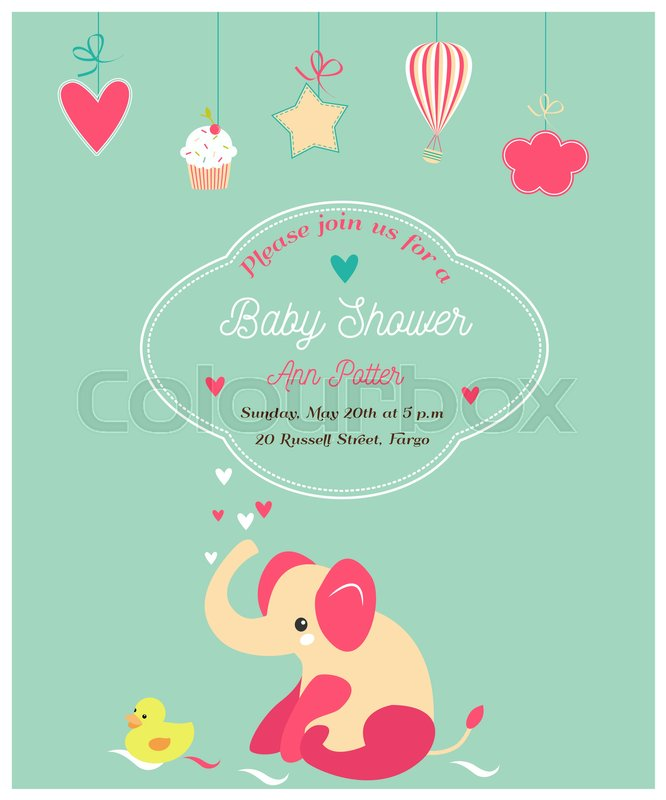 Baby shower cute invitation and with elephant and little duck baby shower cute invitation and with elephant and little duck stock vector colourbox filmwisefo