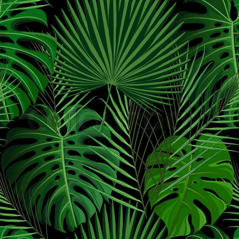 Seamless Pattern With Green Tropical Exotic Palm Leaves On