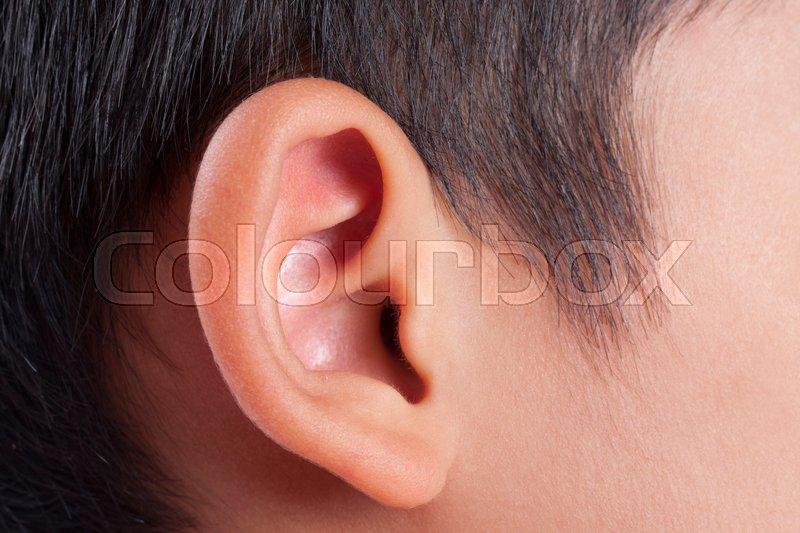 Human ear closeup, stock photo