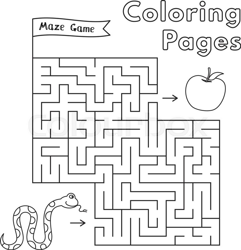 Cartoon snake maze game Vector