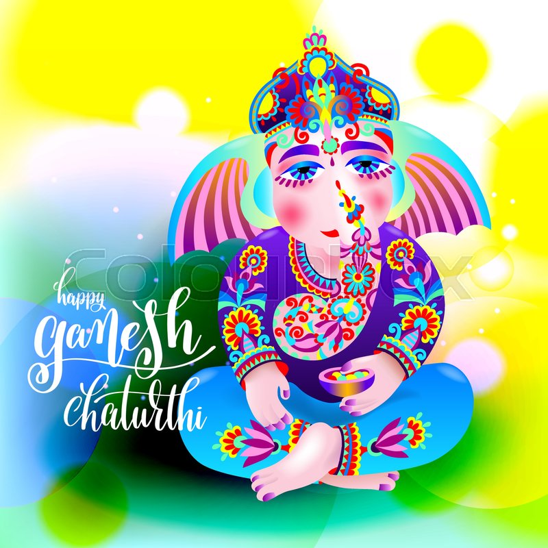 Happy ganesh chaturthi beautiful greeting card or poster for indian happy ganesh chaturthi beautiful greeting card or poster for indian festival with lord ganesha and hand lettering on abstract yellow green background m4hsunfo