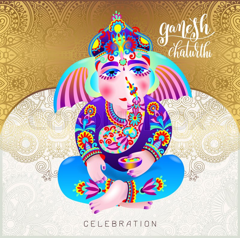 Ganesh chaturthi beautiful greeting card or poster for indian ganesh chaturthi beautiful greeting card or poster for indian festival with lord ganesha and hand lettering on gold floral background vector illustration m4hsunfo