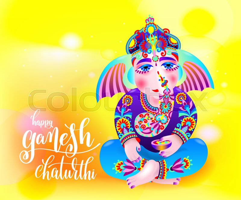 Happy ganesh chaturthi beautiful greeting card or poster for indian happy ganesh chaturthi beautiful greeting card or poster for indian festival with lord ganesha and hand lettering on abstract yellow orange background m4hsunfo