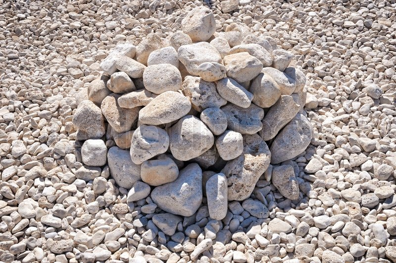 Pile of white stones on the beach | Stock Photo | Colourbox