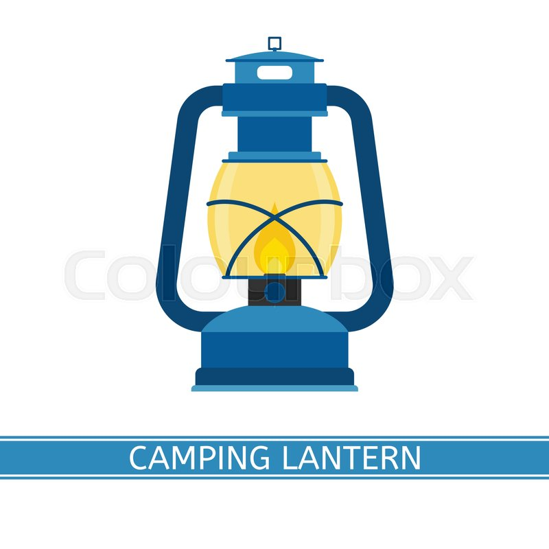 Camping Retro Gas Lantern Vector Icon With Glowing Fire Old Antique Lamp Isolated On White Background Vintage Oil In Flat Design