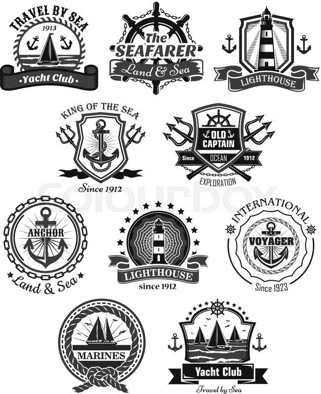yacht club nautical and marine heraldic icons set vector symbols of
