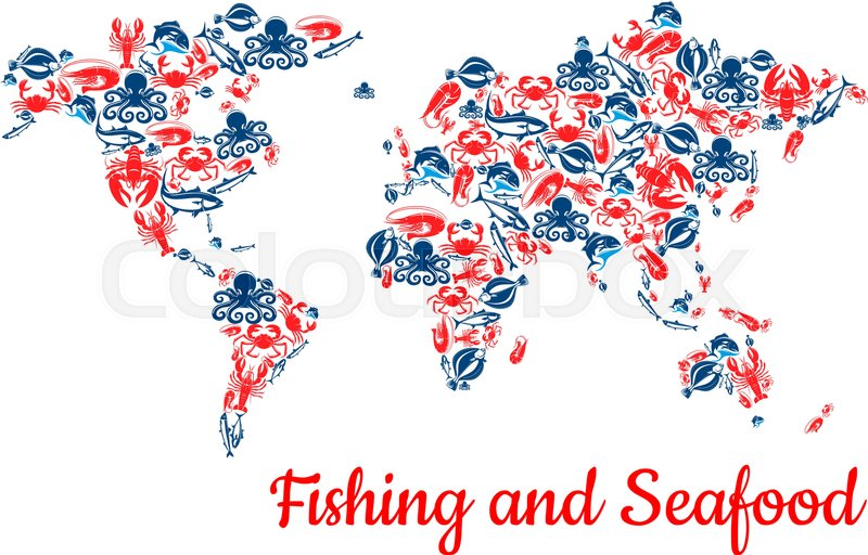 Fishing world map of seafood and fish food vector c of lobster and fishing world map of seafood and fish food vector c of lobster and salmon shrimp or crab and trout and tuna or carp fishery catch flounder and prawn or gumiabroncs Gallery