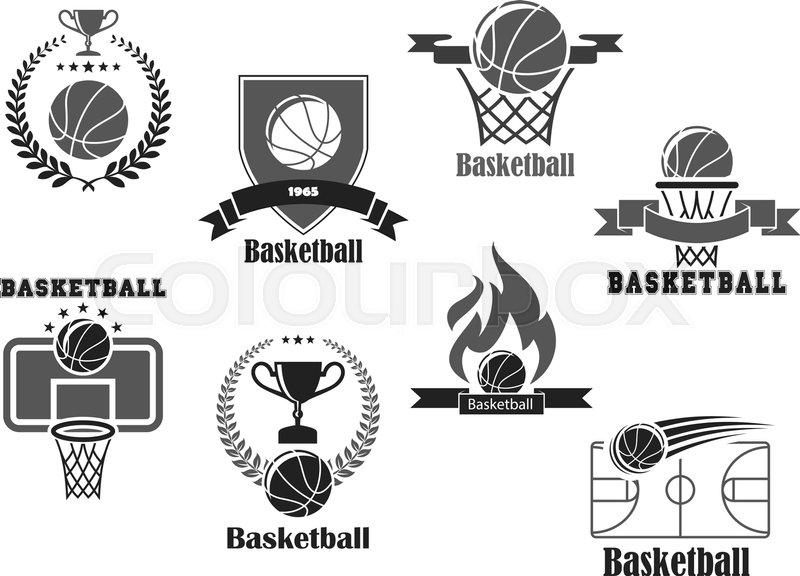 Basketball Club Championship Or Tournament Award Vector Icons