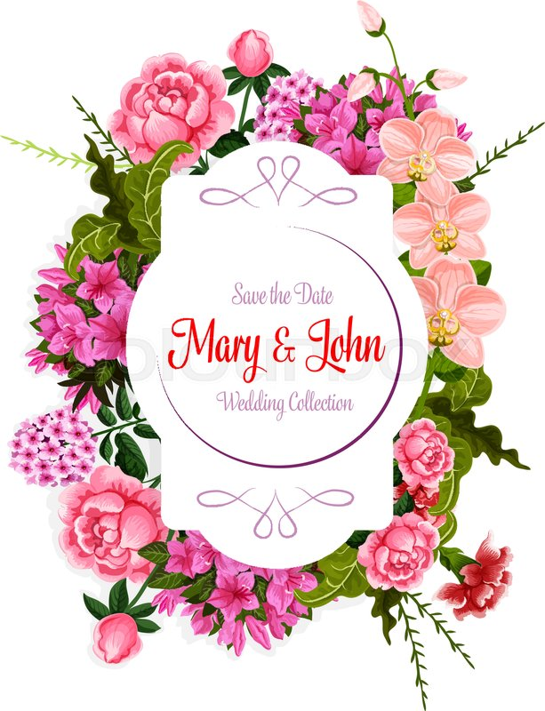 Wedding Save the Date celebration greeting card template of flowers ...