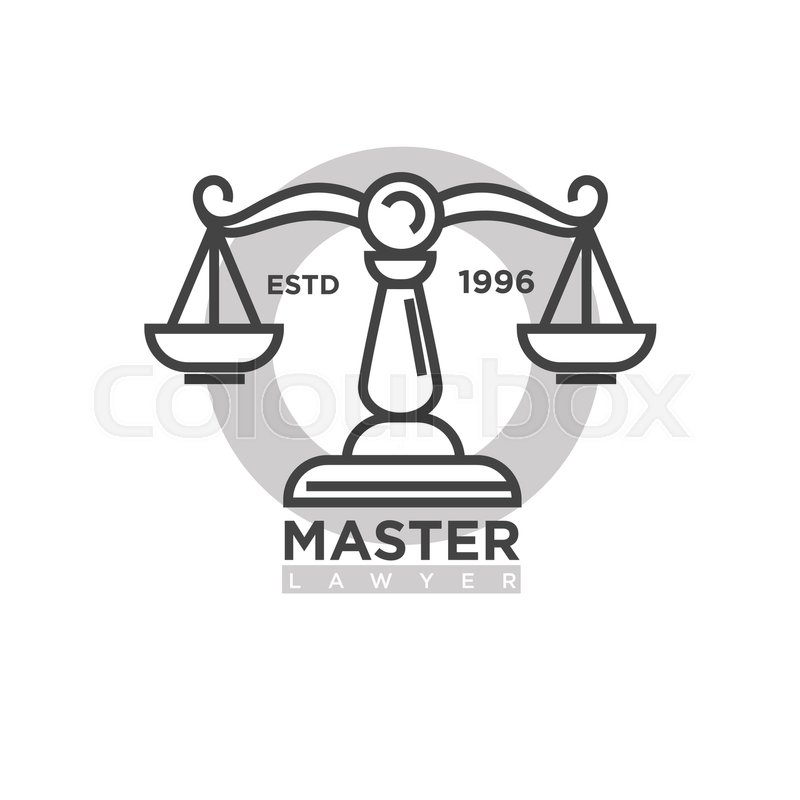 Master Lawyer Established In 1996 Emblem Antique Balanced Scales As