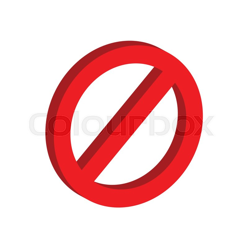 Stop Sign Symbol Flat Isometric Icon Or Logo 3d Style Pictogram