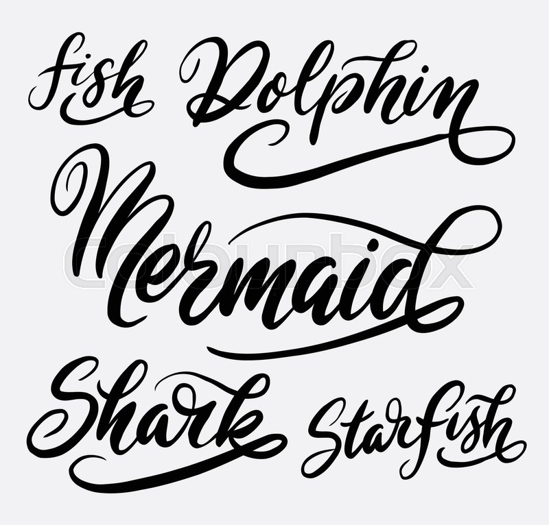 Mermaid And Shark Fish Hand Written Typography Good Use For