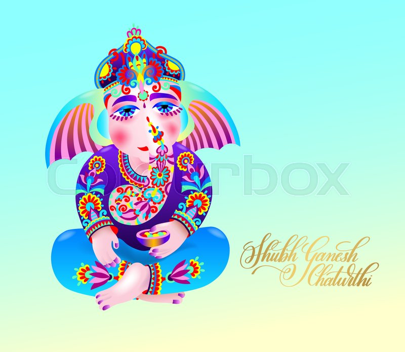 Shubh ganesh chaturthi greeting card to indian celebration holiday shubh ganesh chaturthi greeting card to indian celebration holiday with ganesha drawing and gold hand lettering inscription vector illustration stock m4hsunfo