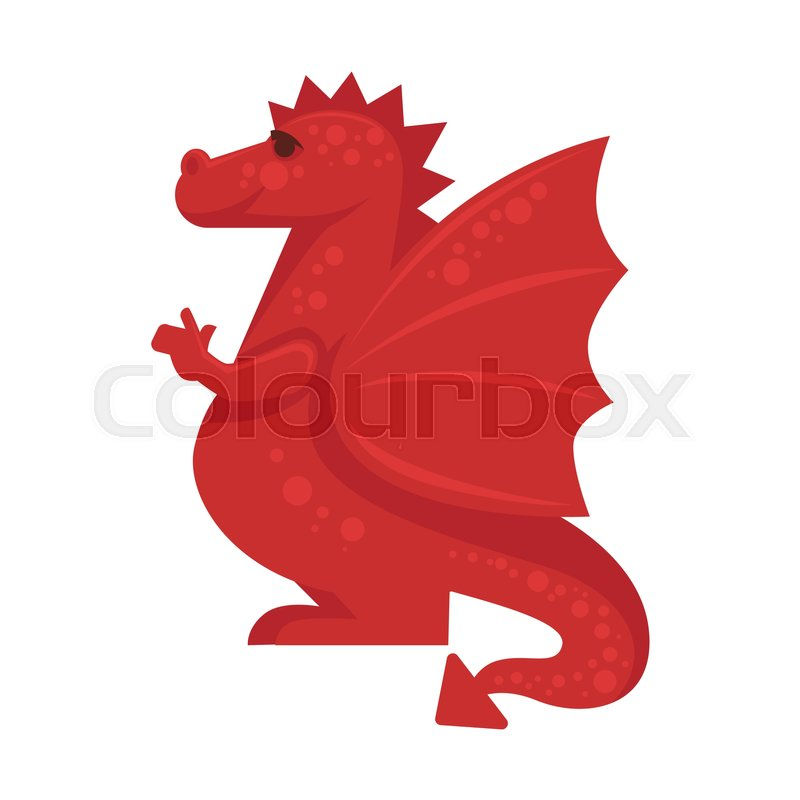 Red Dragon Mythical Monster Giant Reptile Vector Illustration