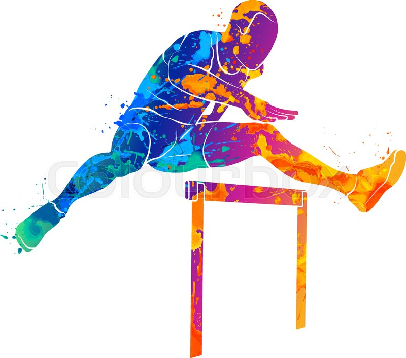 Abstract man jumping over hurdles from splash of ...