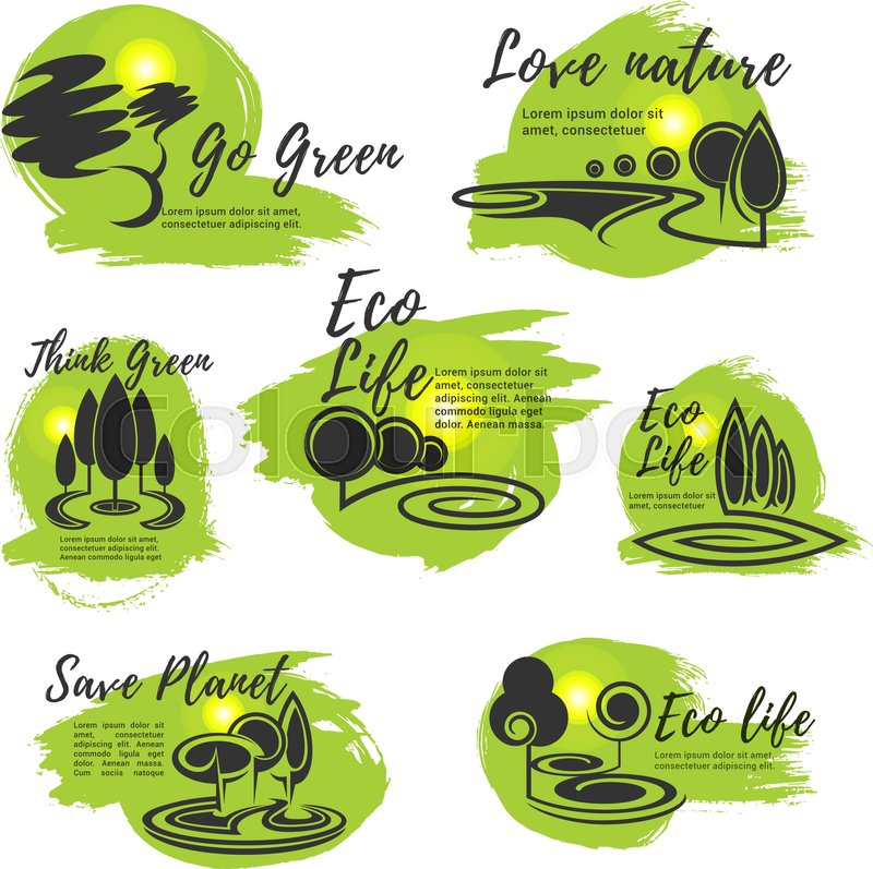 Eco Life Go Green Save Nature And Ecology Protection Symbol Set