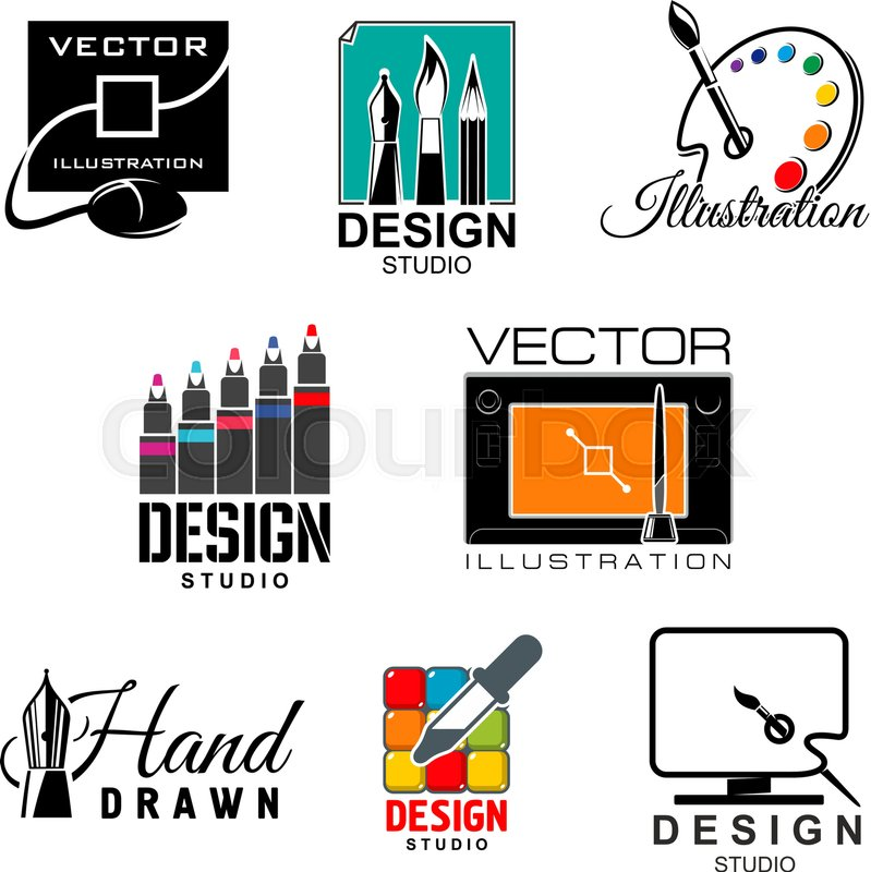 Graphic And Web Design Studio Symbol Set Designer Tool Isolated Icon With Computer Monitor Tablet Digital Pen Paint Palette