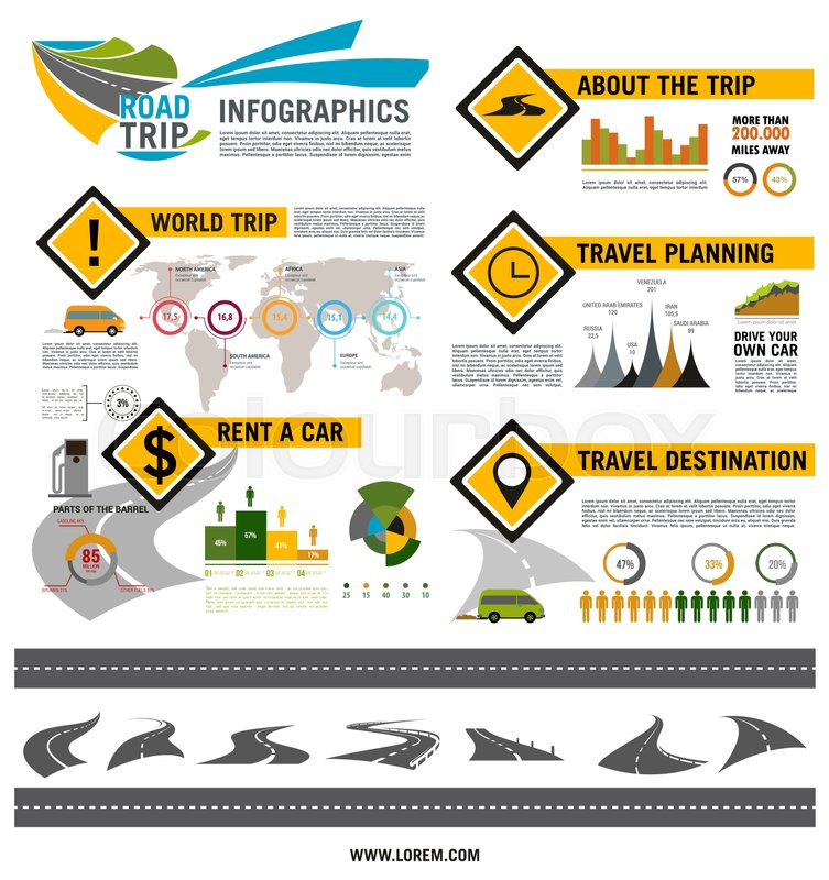 The World S Best Photos Of Car And Rent: Road Trip Infographic Template. Road ...